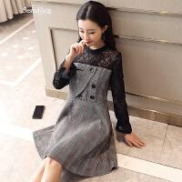 蕾丝连衣裙2018春季新款韩版修身显瘦格子中裙a字假两件休闲裙子 深灰条纹