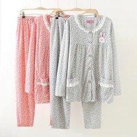 棉质碎花花边圆领可爱兔子家居服睡衣套装17新款套装加大码女装