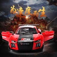 彩珀奥迪R8LMS赛车跑车赛道版合金声光开门回力汽车模型玩具1:32