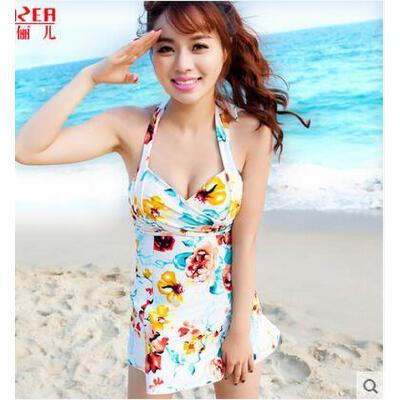 新款清新游泳衣 女 裙式连体 印花泳衣女 保守 显瘦 小胸聚拢遮肚泳装