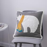 韩式卡通抱枕粗毛线十字绣抱枕套刺绣正方形沙发靠垫床头靠枕含芯