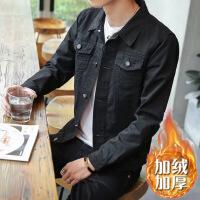 男士加绒牛仔夹克秋冬季韩版加厚快手红人同款衣服褂社会小伙外套 加绒加厚