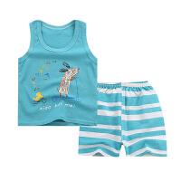 儿童背心套装1夏装2纯棉3宝宝无袖4婴儿背心短裤5岁新生儿两件套