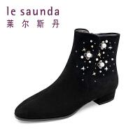 莱尔斯丹 秋冬季新款铆钉低跟短复古短靴女靴 9T24601