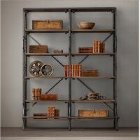 幸阁 铁艺做旧纯实木书架置物架 仿古做旧壁挂柜