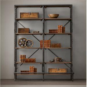 幸阁 铁艺实木做旧实木书架展示架 书架置物架仿古做旧壁挂柜