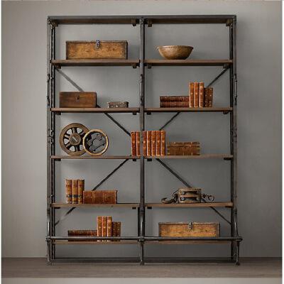 【限时直降】幸阁 铁艺做旧纯实木书架置物架 仿古做旧壁挂柜支付礼品卡 尺寸颜色可定制