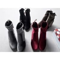 法国单时尚天鹅绒可靠粗跟尖头高跟鞋中短筒马丁靴秋冬女鞋子0.87