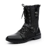 DAZED CONFUSED新款男士韩版马丁靴潮流英伦皮靴中筒时尚高帮软皮靴