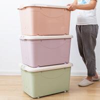 整理箱特大号有盖胶箱塑料储物箱家用装衣服的储蓄盒收纳箱带轮子