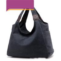 帆布包女包简约手包休闲韩版单肩包斜挎包大包包 黑色 大款