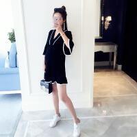 2018春装新款时尚孕妇装V领荷叶边袖宽松针织孕妇连衣裙女孕妇裙 黑色 均码