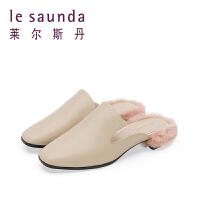 莱尔斯丹 夏新款穆勒鞋毛毛鞋中跟粗跟女凉鞋拖鞋 9M40906