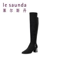 莱尔斯丹 秋冬粗跟高跟长筒靴加绒保暖过膝靴女9T68803V