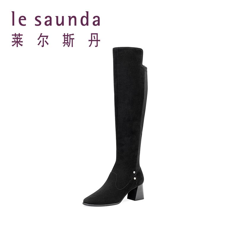 莱尔斯丹 秋冬粗跟高跟长筒靴加绒保暖过膝靴女9T68803V 加绒保暖过膝靴