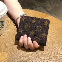 新款小钱包女短款2018新款多功能韩版两折印花小巧迷你零钱包