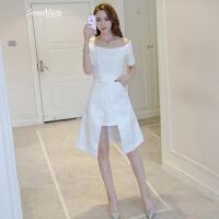 2018夏季新款女装韩版不规则燕尾裙白色连衣裙宴会聚会性感小礼服 白色
