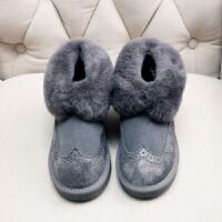 2018新款雪地靴女韩版学生冬短筒靴羊皮毛一体防滑面包鞋防水棉靴