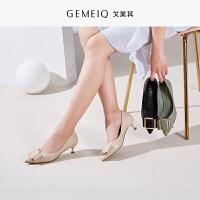戈美其春秋季新品浅口尖头蝴蝶结单鞋女中跟细跟时尚优雅女鞋子