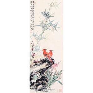 张大千款《花鸟》 纸本立轴