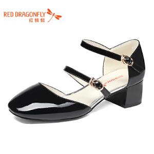 红蜻蜓女鞋时尚金属扣女士玛丽珍鞋