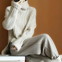 年终清仓秋冬加厚高领纯羊绒衫女宽松套头保暖毛衣纯色打底针织衫