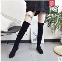 新款冬季韩版女加绒长靴百搭粗跟靴子长筒靴过膝靴系带瘦瘦靴