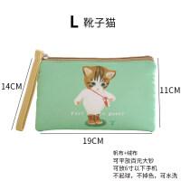 趣袋零钱包女帆布迷你可爱卡通韩款手拿布艺钥匙硬币手机袋小钱包 L 靴子猫