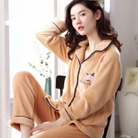 秋冬季大码珊瑚绒睡衣女冬天两件套套装长袖开衫韩版法兰绒家居服