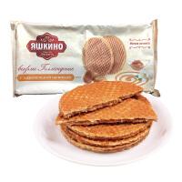 俄罗斯进口零食 拉丝华夫饼干 蜂蜜焦糖味290g*2袋580g 焦糖瓦夫饼