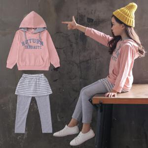 童装2018秋季新款韩版女童TAN假两件套装儿童休闲两件套