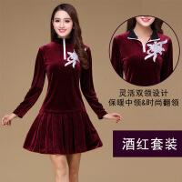 中老年广场舞服装女成人套装时尚新款韩国绒春夏保暖舞蹈衣服