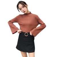 秋装2018新款女装韩版简约百搭修身喇叭袖长袖针织衫打底上衣T恤 均码