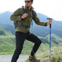 T型手柄伸缩式 铝合金登山杖伸缩折叠手杖登山杖徒步爬山女男拐杖拐棍拐�E装备 颜色随机