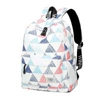 双肩包男大容量旅行包韩潮流印花背包女生书包出差、手提包 米白色大号
