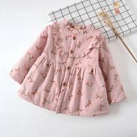 儿童夹棉保暖裙1季宝宝棉衣加绒加厚韩版裙子女童碎花童4岁可爱 G 夹棉 小花 粉