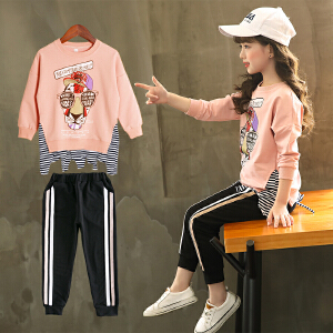 童装2018秋季新款女童眼睛套装儿童长袖T恤+长裤女孩两件套
