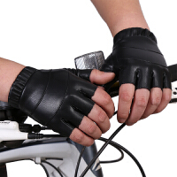 健身手套男女士户外骑行半指手套水洗皮露指开车