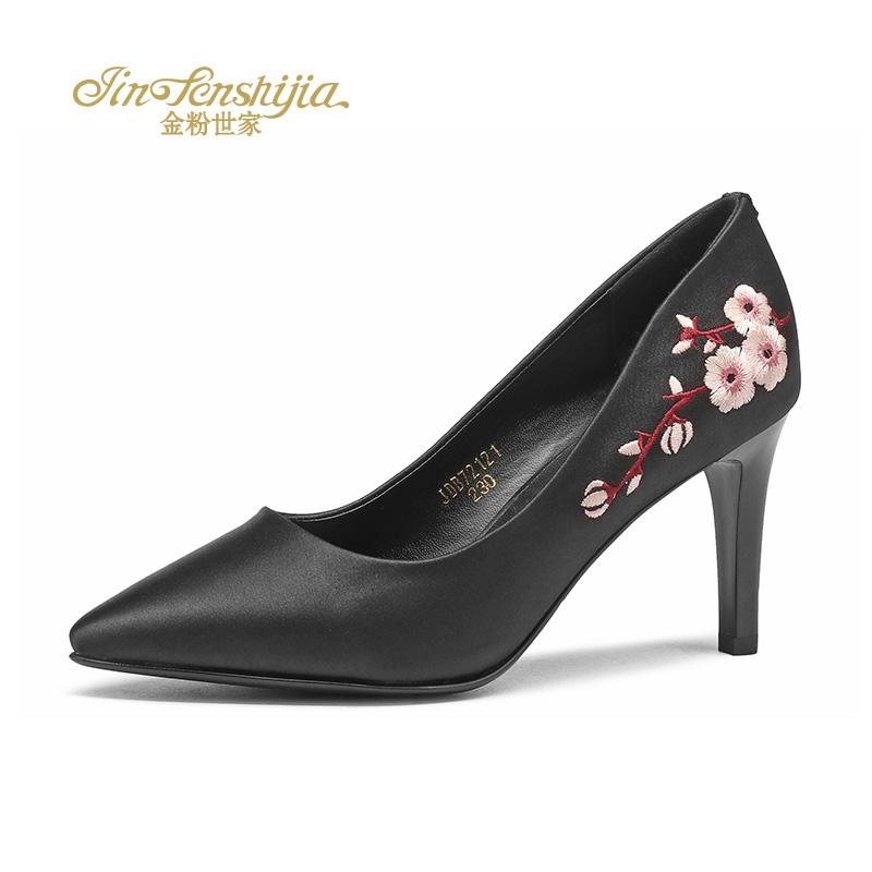 金粉世家 红蜻蜓旗下 2017秋季绣花高跟尖头韩版时尚细跟女单鞋