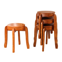 实木圆凳子 家用餐桌凳板凳时尚创意凳子可叠放中式圆凳矮凳