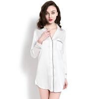 衬衫性感睡衣女夏开衫韩版修身长袖蕾丝睡裙秋长款冰丝家居服