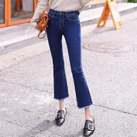 牛仔裤 女士高腰九分水洗牛仔裤2020年秋季新款韩版时尚女式宽松女装微喇裤
