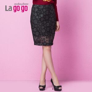 lagogo新款修身纯色蕾丝镂空包臀裙黑色短款显瘦半身裙女一步裙