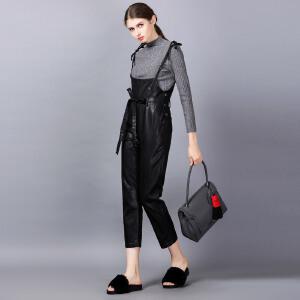 �莱2017春装新款独白镜头原创设计女装PU皮背带裤