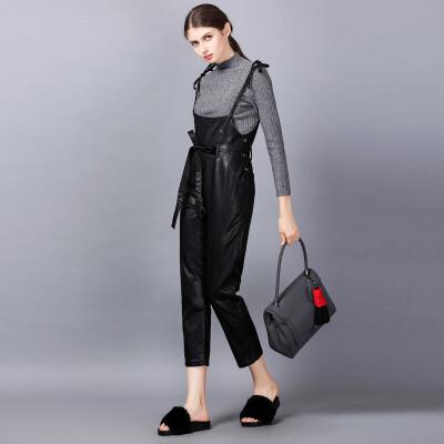 苿莱2017春装新款独白镜头原创设计女装PU皮背带裤