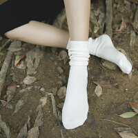堆堆袜子女短靴袜长筒袜糖果色春秋季纯色学院风中筒袜棉女袜子