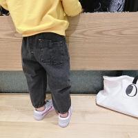 春款新款男女中小儿童软牛仔裤灯笼裤宽松阔腿潮裤收脚休闲小脚裤 黑色牛仔裤