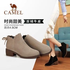 Camel/骆驼女鞋 2018冬季新品时尚英伦气质荷边蝴蝶结饰拉链短靴