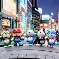 汽车摆件卡通公仔网红抖音汽车摆件机器猫叮当猫公仔卡通玩具人偶英雄版6款套 叮当英雄6款+胶贴