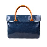 新款男包手提包 牛皮包斜挎包 14寸苹果电脑包休闲男士商务公文包 蓝色+咖啡 头层真皮
